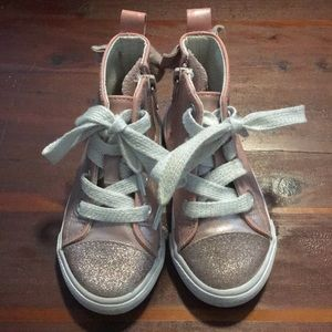 Toddler pink metallic high tops